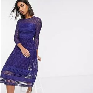 ASOS Purple All Over Lace Dress Size 14